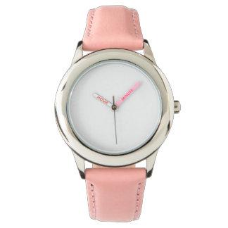 ステンレス鋼のピンクの革バンドの腕時計 リストウォッチ