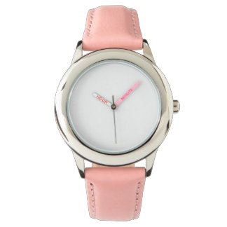 ステンレス鋼のピンクの革バンドの腕時計 腕時計