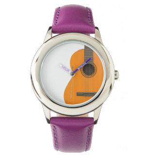 ステンレス鋼の紫色の腕時計のクラシカルなギター 腕時計