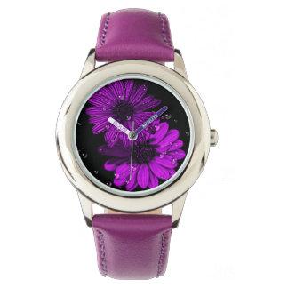ステンレス鋼の紫色の花の腕時計 腕時計