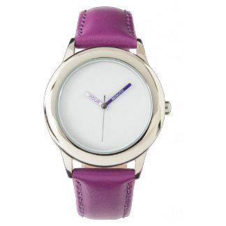 ステンレス鋼の紫色の革バンドの腕時計 腕時計