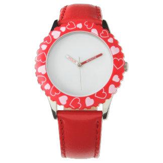 ステンレス鋼の赤いハートの腕時計、調節可能な斜面 腕時計