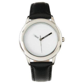 ステンレス鋼の黒の革バンドの腕時計 腕時計