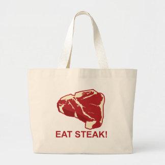 ステーキを食べて下さい ラージトートバッグ
