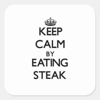 ステーキを食べることによって平静を保って下さい スクエアシール