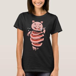 ステーキレディースで切られる自己の食べ物の人食いのブタ Tシャツ