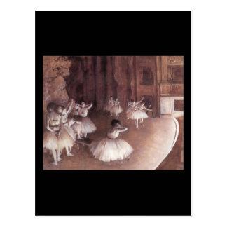 ステージのバレエのリハーサル ポストカード