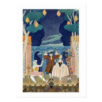 ステージ、「祝日Galantesのためのイラストレーションをパントマイムで演じて下さい ポストカード