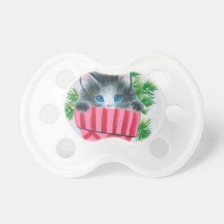 ストッキングの最も甘いヴィンテージのクリスマスの子ネコ おしゃぶり