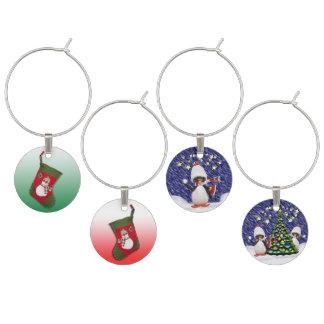 ストッキング及びペンギンのクリスマスのテーマ ワインチャーム