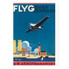 ストックホルムのヴィンテージ旅行ポスター上のFlyG ポストカード
