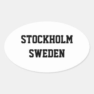 ストックホルムスウェーデンの楕円形のステッカー 楕円形シール