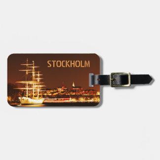 ストックホルム、スウェーデンの夜の船 ラゲッジタグ