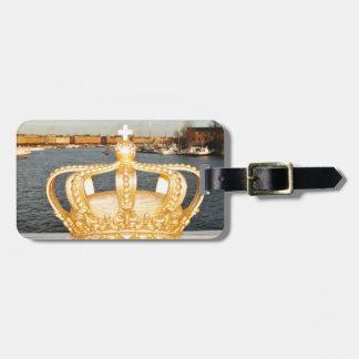 ストックホルム、スウェーデンの金王冠橋の詳細 ラゲッジタグ