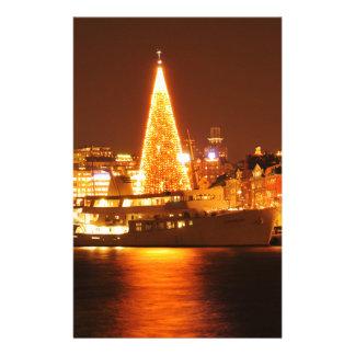 ストックホルム、夜のクリスマスのスウェーデン 便箋