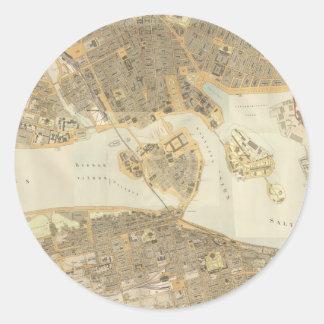 ストックホルム(1899年)のヴィンテージの地図 ラウンドシール