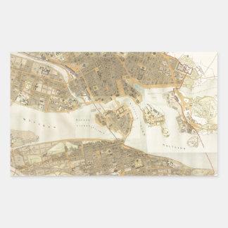 ストックホルム(1899年)のヴィンテージの地図 長方形シール