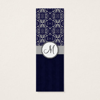 ストライプおよびモノグラムが付いている青の銀製のダマスク織 スキニー名刺