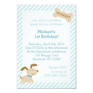 ストライプおよび点を持つ青い小犬の招待状 カード