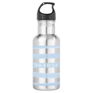 ストライプか調節可能なPixDezinesの青い水彩画 ウォーターボトル