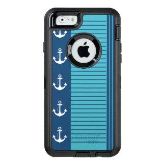 ストライプなおよびいかりの粋で航海のなデザイン オッターボックスディフェンダーiPhoneケース