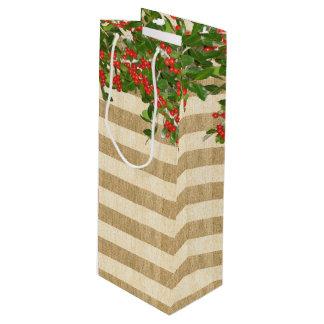 ストライプなバーラップおよびクリスマスのYauponヒイラギ ワインギフトバッグ