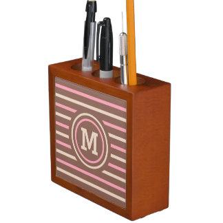 ストライプなパターンカスタムなモノグラムの机のオルガナイザー ペンスタンド