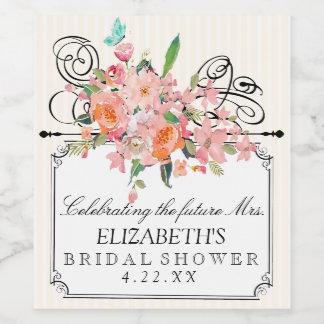 ストライプなブライダルシャワーの水彩画の花 ワインラベル