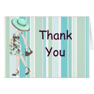 ストライプなベビーシャワーは感謝していしていますNotecard (カリフォルニア) カード