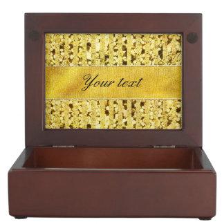 ストライプな模造のな金ゴールドホイルおよび紙吹雪 ジュエリーボックス