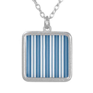 ストライプな背景の青および白 シルバープレートネックレス
