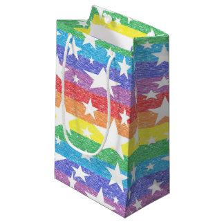 ストライプな虹および星のギフトバッグ スモールペーパーバッグ