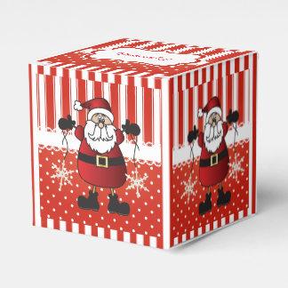 ストライプな赤と白キャンデーおよびサンタクロース フェイバーボックス