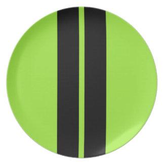 ストライプな車のフードを競争させるネオン緑 プレート