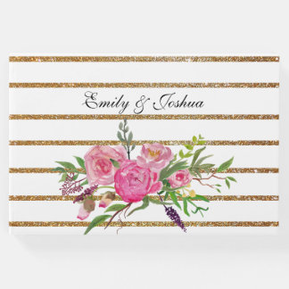 ストライプな金ゴールドおよび来客名簿を結婚するピンクの花 ゲストブック