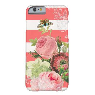 ストライプなPixDezinesの調節可能な珊瑚かヴィンテージのバラ Barely There iPhone 6 ケース