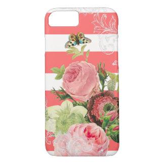 ストライプなPixDezinesの調節可能な珊瑚かヴィンテージのバラ iPhone 8/7ケース