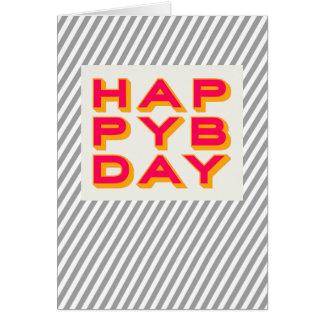 ストライプので幸せなBdayのタイポグラフィの挨拶状 グリーティングカード