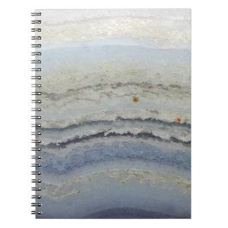 ストライプので青いレースの瑪瑙のカッコいいのユニークな自然の石 ノートブック