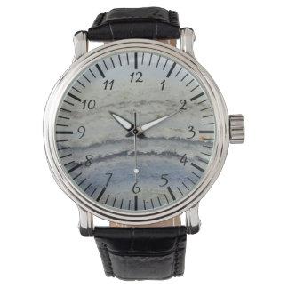 ストライプので青いレースの瑪瑙のカッコいいのユニークな自然の石 腕時計