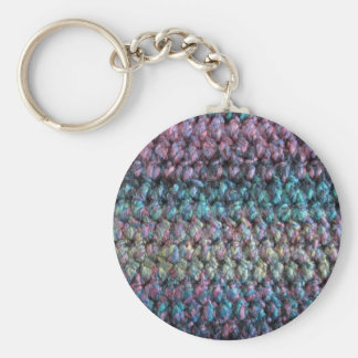 ストライプのなかぎ針編みの編まれたウール キーホルダー