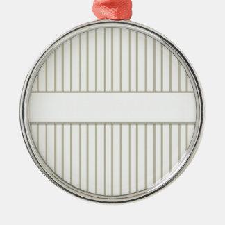 ストライプのなクリーム色デザイナープリント メタルオーナメント