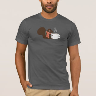ストライプのなスカーフを持つリスのコーヒー恋人 Tシャツ