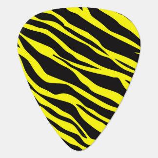 ストライプのなネオン黄色いシマウマ ギターピック
