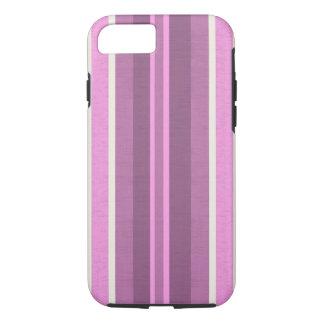 ストライプのなピンクの綿織物パターン iPhone 8/7ケース