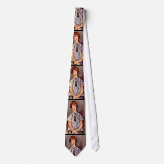 ストライプのなブラウスのModiglianiのポートレートの若い女の子 ネクタイ