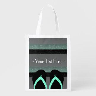 ストライプのなモノグラムの海のミントの緑の再使用可能な店のバッグ エコバッグ