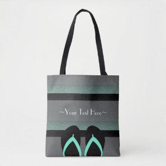 ストライプのなモノグラムの海のミントの緑の完全なプリント トートバッグ