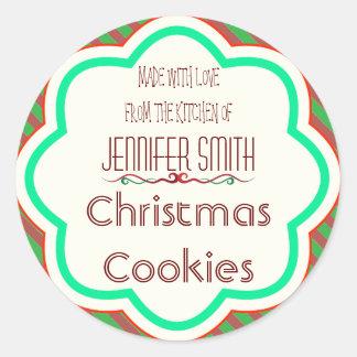 ストライプのな休日のクリスマスのベーカリーの焼いたなクッキーの交換 ラウンドシール
