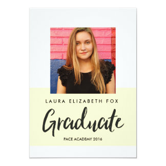 ストライプのな写真の卒業の発表 カード
